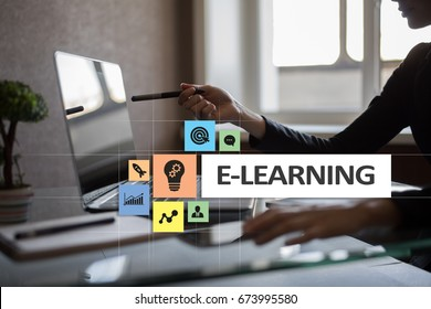 E-Learning on the virtual screen. Internet education concept.