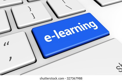 E-learning online education concept with sign and word on a computer key for blog, website and online business.