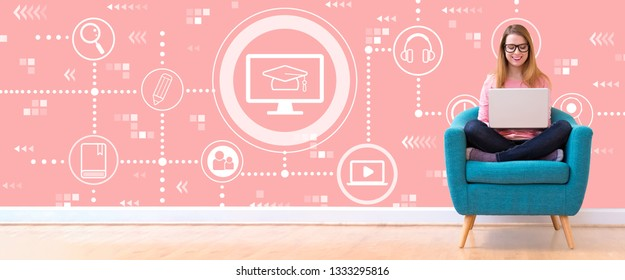 E-Learning with young woman using her laptop in a chair