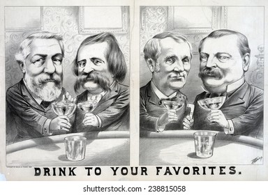 Election of 1884. James G. Blaine and John A. Logan toasting each other, and of Grover Cleveland and Thomas A. Hendricks toasting each other.