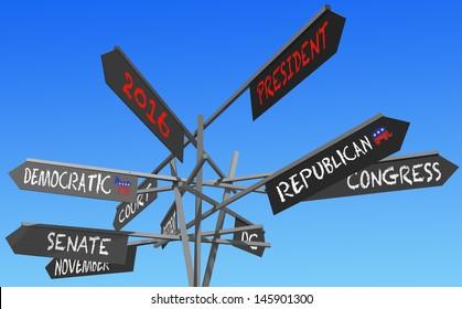 election 2016 choice conceptual post over blue sky