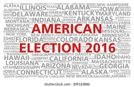 Election 2016 word cloud for the United States presidential vote