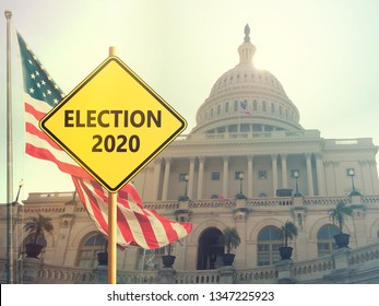 Election 2020 sign with american flag on background
