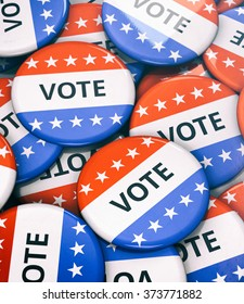 Election: Collection Of Vote Pins Arranged In Pile