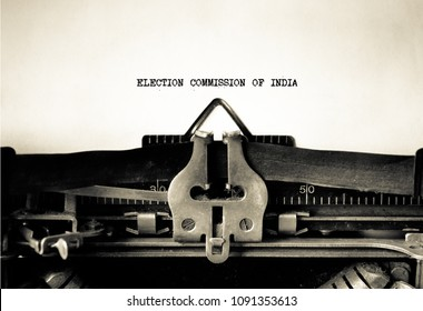 Election Commission of India words typed on Vintage Typewriter
