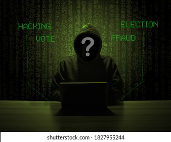 Election hacking fraud concept. Hacker with no face and interrogation point, and background with fraud, vote, hacking, election.