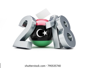 election Libya 2018 on a white background 3D illustration, 3D rendering