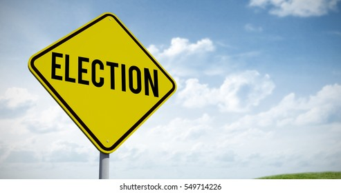 Election text against green field under blue sky