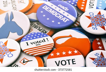 Election: Variety Of Presidential Election Buttons