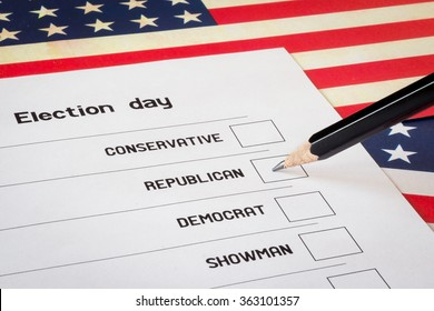 Elections ballot with USA flag background. Selection of a candidate from the Republicans