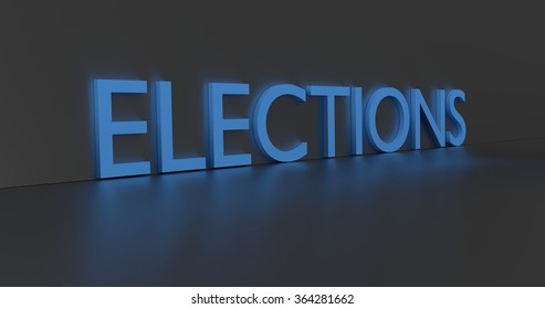 Elections concept word - blue text on grey background.