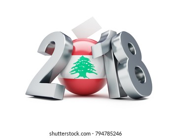elections in Lebanon 2018 on a white background 3D illustration,