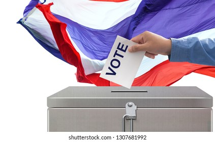 Elections in Thailand, Hand Putting Voting Paper elections and democracy concept