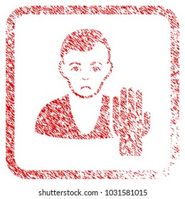 Elector rubber seal stamp watermark. Human face has unhappy emotion. Scratched red sticker of elector. Icon symbol with grunge design and corrosion texture in rounded squared frame.