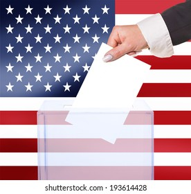 electoral vote by ballot, under the USA flag