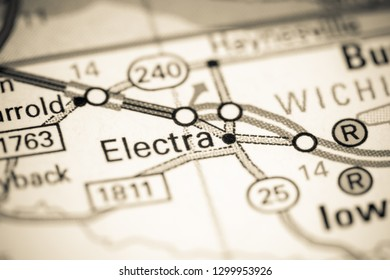 Electra. Texas. USA on a map