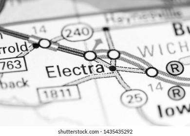 Electra. Texas. USA on a map