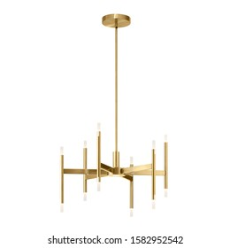 Electric 9-Light Chandelier Isolated on White Background. Metal Pendant Ceiling Light Fixture Round Shape. Antique Hanging Lights. 6 Arm Chandelier with Bright Brass Band. Pendant Sconce Lighting Lamp
