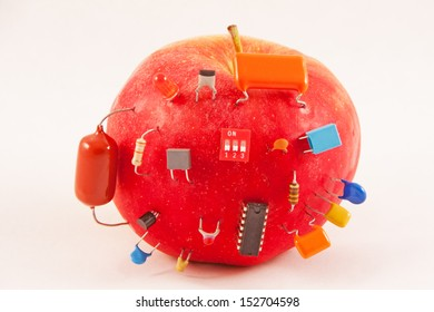 Electric apple with electronic components