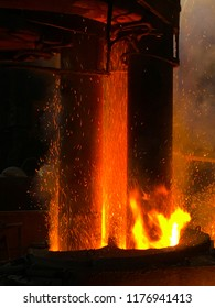 Electric arc furnace in the metallurgical plant