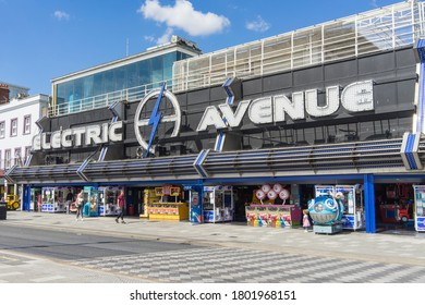 Electric Avenue amusement arcade on Southend seafront on a sunny summers day. Southend, Essex, England - 24th August 2020