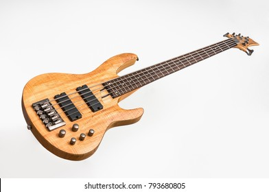 Electric bass guitar isolated on white background