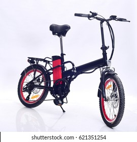 Electric bike front view on white background.