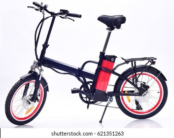 Electric bike side view on white background.