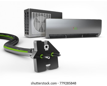 Electric black plug in the form of house and air conditioning. 3d Illustration