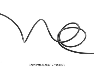 electric black wire cable curled shaped isolate on white background