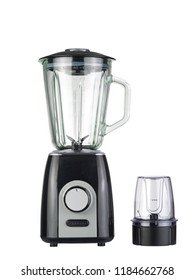 Electric blender with coffee grinder on a white background