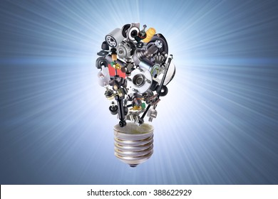 Electric bulb with auto parts for car. Auto parts for car. Auto parts for shop, aftermarket OEM. Bulb with auto parts. New auto parts for shop. Many auto spare parts for car. Isolated auto parts.