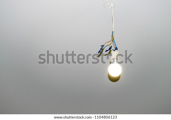 Electric Bulb Hangs On Wire Light Stock Photo (Edit Now ... on
