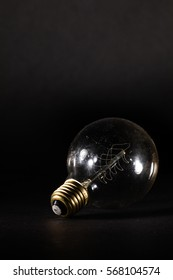 an electric bulb on black background