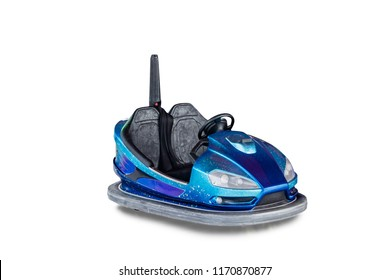 Electric bumper car for kids on white background