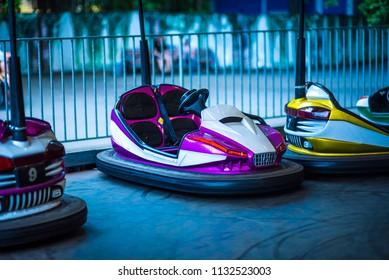 electric bumper cars or dodgem cars