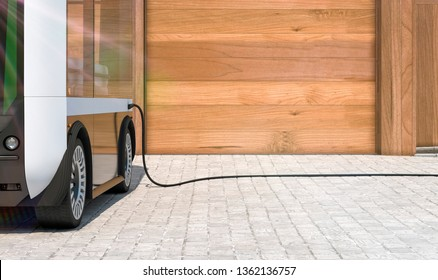electric bus charging in front of garage