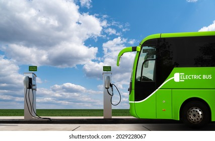 Electric bus with charging station. Concept