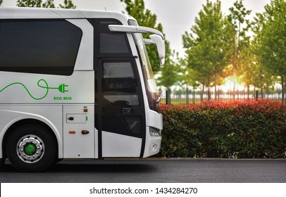 Electric bus. Concept of e-bus with zero emission.