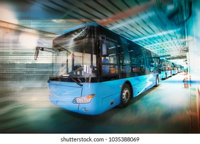 Electric bus discharged in the workshop