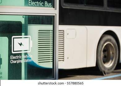 Electric bus near charging for electric vehicles.