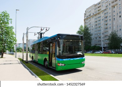 Electric bus on the city street