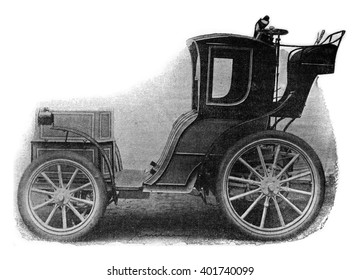 Electric Cab, vintage engraved illustration. Industrial encyclopedia E.-O. Lami - 1875.