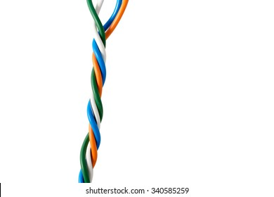 Electric cable ends, isolated on white. Colorful bundle of electric or electronic cables.