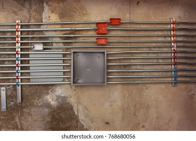 Electric cable pipe or conduit fixing under the concrete floor Construction work.