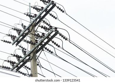 Electric cable support on electrical poles