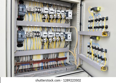 Electric cable wiring supply and switch board in the control panel board
