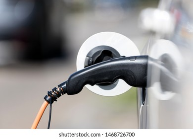 electric car battery being charged