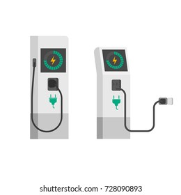 Electric car charger illustration, flat cartoon electric vehicle charging station with wire cable isolated on white background clipart image