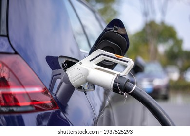 electric car charging in power station